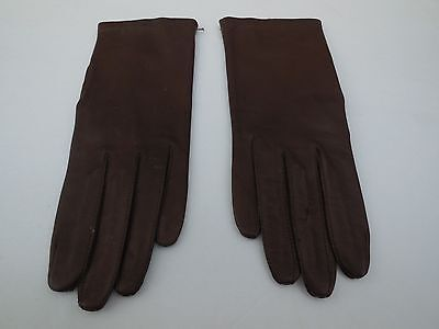 * Fownes Ladies Chocolate Brown Leather Gloves Nylon Lining Size 6.5