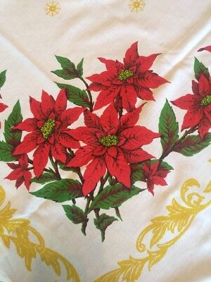 Vintage Christmas Tablecloth Poinsettias Filigree 56 x 56 Lace Edge Unused MCM