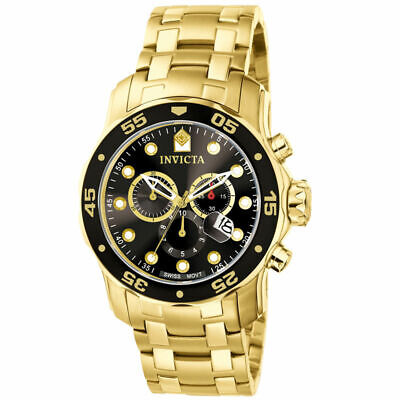 Men's Invicta Pro Diver Scuba Black Gold Plated Steel Chronograph 48mm Watch New