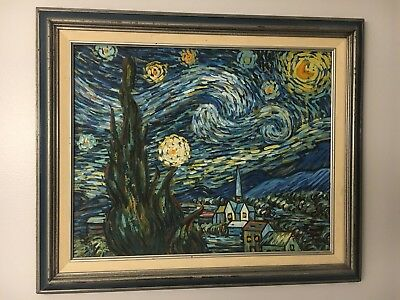 Vincent Van Gogh Starry Night Hand Painted By Geelong Oil Canvas Framed 21 X 25 69 00 Picclick