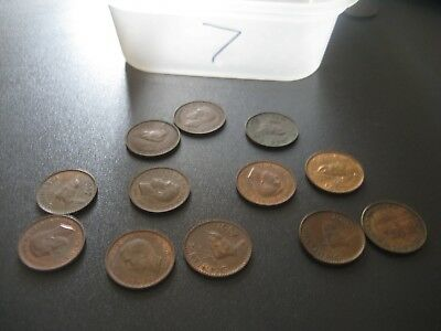 Vintage Mixed lot of Farthings George V 1937 - 1952 Circulated & Uncleaned