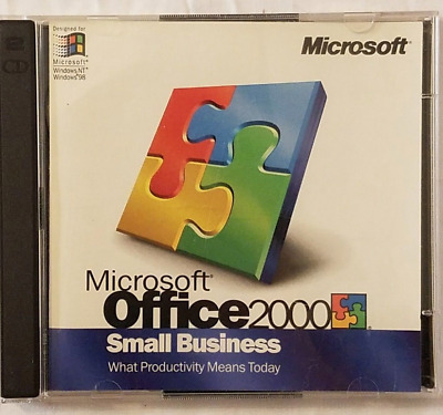 Microsoft Office 2000 Small Business Upgrade 2 Disc Set w/ Product Key PRE OWNED