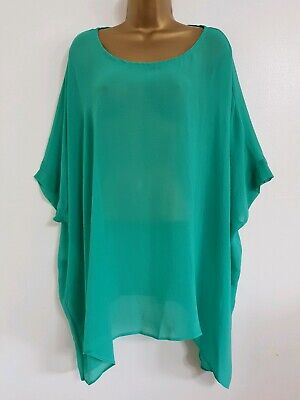 NEW Ann Harvey Plus Size 16-32 Emerald Green Batwing Sleeve Tunic Top Blouse