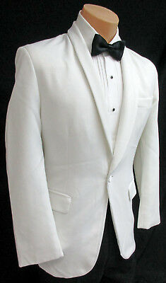 Men's White Tuxedo Dinner Jacket One Button with Shawl Rounded Lapels 50 Regular