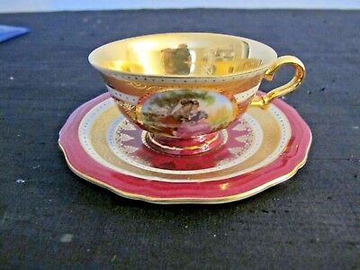 Royal Vienna Demitasse Cup and Saucer Red and Gold