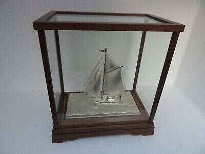 Finest Japanese Signed Sterling Silver 985 Yacht Sailboat Ship Takehiko Japan