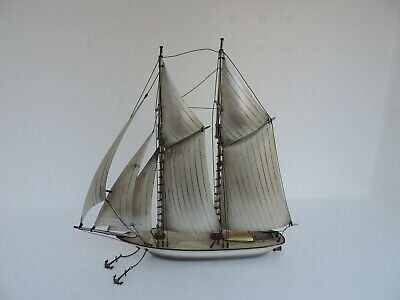 Stunning Two Masted Japanese Solid Sterling Silver Ship 235 Grams 8.31 Oz Japan