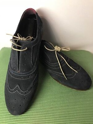 Ted Baker London OALVINN Wing Tip Oxford Dress Shoes Light Navy Suede Sz 11  GUC 2747e1fa362