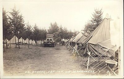 1st INFANTRY CO. STREET ON MANEUVERS RPPC Photo c1939