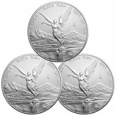 Lot of 3 2019 Mexico 1 oz Silver Libertad 1 Onza Coins GEM BU SKU57154