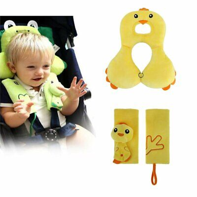 Baby Head Support with Strap Covers - Comfortable Seat Pillow & Seat Belt Cover