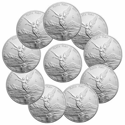 Lot of 10 2019 Mexico 1 oz Silver Libertad 1 Onza Coins GEM BU PRESALE SKU57156