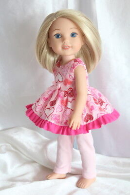 Dress Outfit fits 14inch American Girl Wellie Wishers Doll Clothes Hearts
