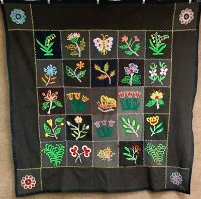 Glowing PA Vintage Pictorial Mennonite HOOK Embroidery Quilt Top