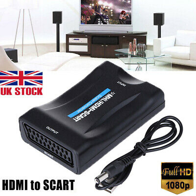 1080P HDMI To SCART Video Audio Upscale Converter Adapter HD TV DVD SkyBox PS3