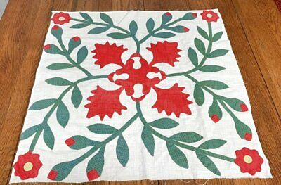 Early Red Green c 1850s Album QUILT Top pc Applique RARE Maryland Antique
