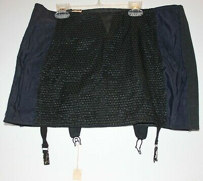 NOSWT Vintage 1950s Skirt Girdle with Garters Black & Dark Blue Open Bottom