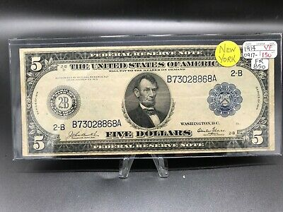 FR-850 1914 Series $5 New York Federal Reserve Note  Very Fine*