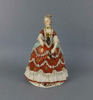 Antique Dresden German Porcelain Figurine of a Romantic Young Lady