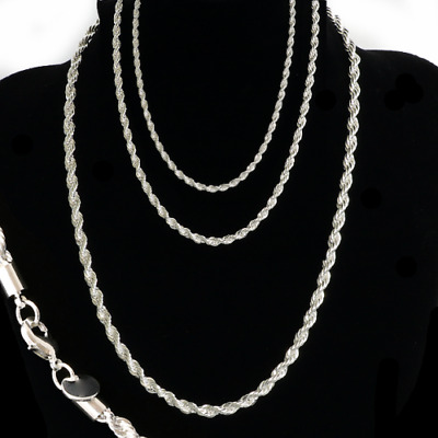 """Sterling Silver plated 3,4,5MM Twisted Rope Chain Necklace 16""""-24"""" Mens Womens"""