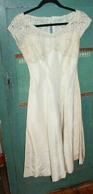 vintage dress party wedding 1960s 50s satin lace sequin glam white cream glam