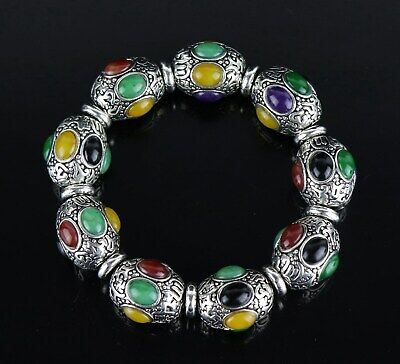Collectable Tibet Silver Carve Tibetan Culture Inlay Agate Unique Decor Bracelet