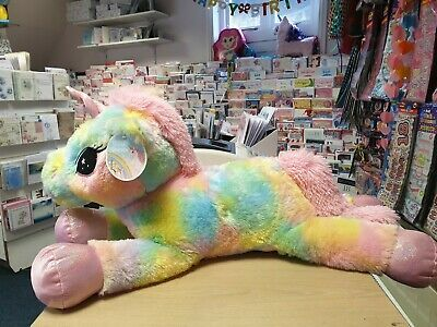 "*NEW IN* 23"" Unicorn Plush teddy Girls Soft Large Cuddly Toy bed rainbow pink"