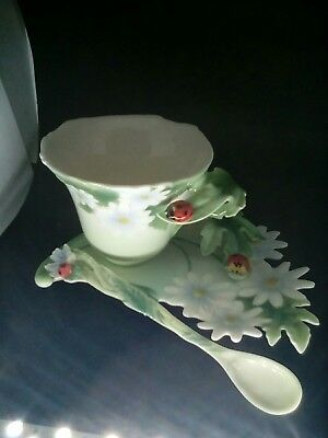Franz Collection Ladybug Cup Saucer & Spoon Great Gift!