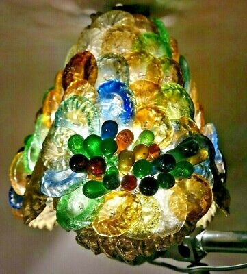 """28"""" Antique ITALIAN Old VENETIAN MURANO Glass SHADE BANQUET Style PARLOR LAMP"""