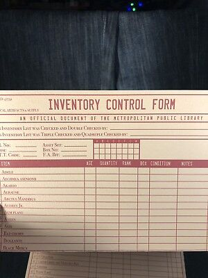 The Librarians Screen Used Inventory Control Form!! 1 Of 3