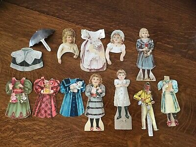 Lot Of Antique Paper Dolls-J & P Coats/ Clark's/ Diamond Dyes/Washakie/ Umbrella