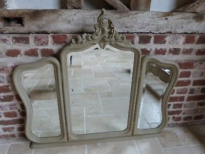 French triple pivot painted ornate carved overmantel bedroom mirror