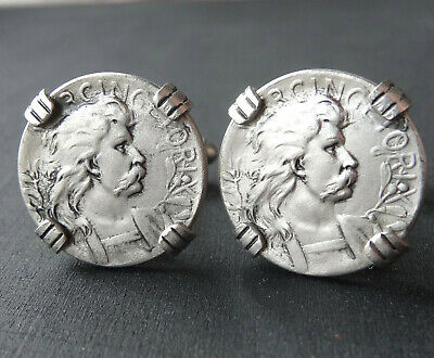 vintage pewter coin style silver tone mens cufflinks -C369