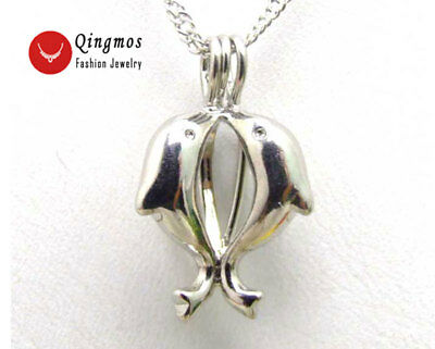 Christmas Wish Pearl Double Dolphin Pendant Necklace Oyster Chokers Necklace Box