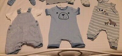 Baby Boys 3-6 Months Bundle Summer Style Dungarees & Romper