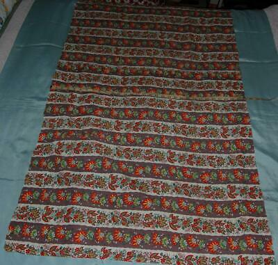 """Vintage Fabric Remnant Screen Printed Cotton 74"""" x 31""""Partly Made Skirt c1950-60"""