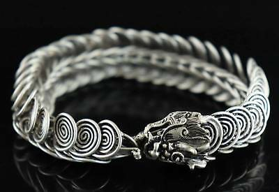 Tibet Silver Carve China Myth Animal Dragon Exorcism Auspicious Decor Bracelet