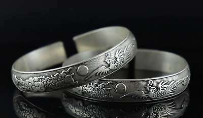 Collectable Tibet Silver Carve Myth Dragon & Phenix Rare Tibetan Style Bracelet
