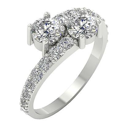 Solitaire Ring Forever Us Two Stone Round Diamond SI1 G 1.85 Ct 14K White Gold