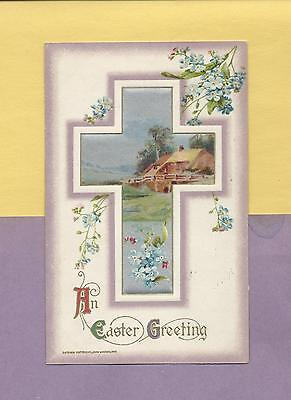 RURAL COTTAGE Within Lovely Decorated CROSS Vintage WINSCH 1910 EASTER Postcard