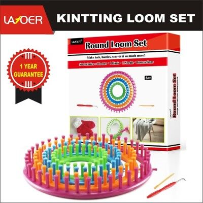 LAYOER Round Loom Set Plastic Knitting Looms with Weaving Circle Hook Needle