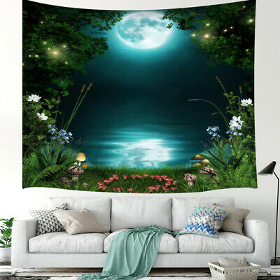 Mysterious Fairytale Forest Tapestry Enchanted Pond,Art Home Decor Bedroom