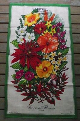 """Vintage """"Greetings from Montville"""" Pure Linen Tea Towel - Tropical Flowers"""