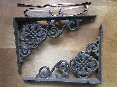 pair USED Cast Iron Antique Style Brackets, Garden Braces Shelf Bracket RUSTIC
