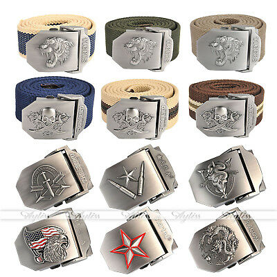 Mens Tactical Belt Automatic Metal Buckle Army Canvas Outdoor Military Style-FQ