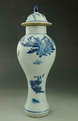 Old Chinese Blue and white porcelain Glaze children pattern Pot  c02