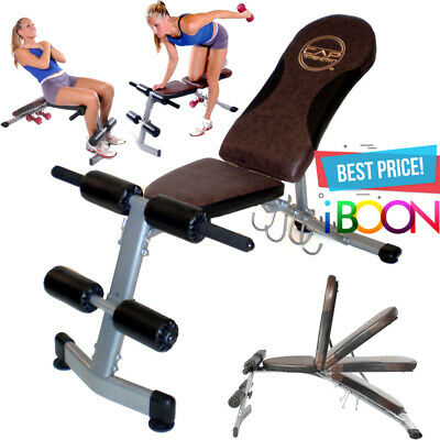 ADJUSTABLE WEIGHT BENCH Flat Incline Decline Exercise Workout Strength Training
