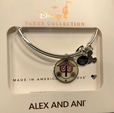 Disney Alex And Ani It's A Small World Silver Bracelet Two Sided Bangle New
