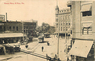 El Paso Texas Pioneer Plaza  Old 1907 Postcard View Trolley Tram