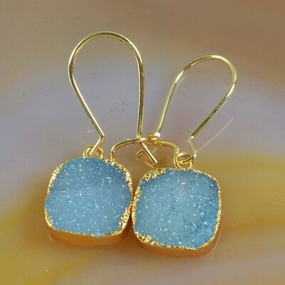12mm Square Blue Agate Druzy Geode Dangle Earrings Gold Plated T070240